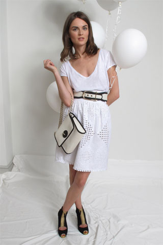 Stella M. White Belted Dress